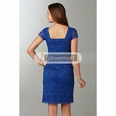 Fantastic Royal Blue Chiffon Sheath Mother of the Bride Dress with Capped Sleeves and Exquisite Lace