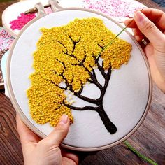 DIY Embroidery Plants Cherry Tree Handwork Needlework for Beginner Cross Stitch kit Ribbon Painting Embroidery Hoop Home Decor - Aliexpress Hand Embroidery Videos, Hand Embroidery Flowers, Simple Embroidery, Hand Embroidery Stitches, Creative Embroidery, Modern Embroidery, Embroidery Hoop Art, Ribbon Embroidery, Diy Embroidery For Beginners
