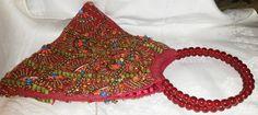 Red Moyna Beaded Handbag, Cranberry Red beaded bag, Cranberry Red Handbag, Red Beaded Handbag, Red Glass Beaded Handle, Boho style bag by RAVsLostAndFound on Etsy