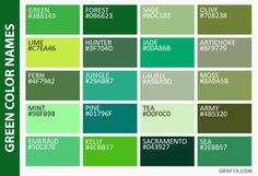 List Of Colors With Color Names Shades Green