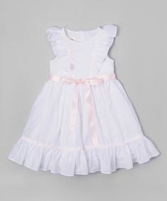 Loving this White & Pink Angel-Sleeve Dress - Infant on #zulily! #zulilyfinds