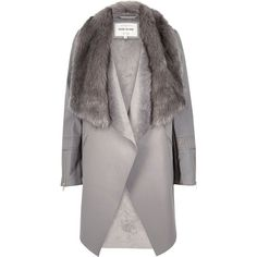 River Island Grey faux fur trim waterfall jacket found on Polyvore featuring outerwear, jackets, coats, grey, tall jackets, faux leather waterfall jacket, long sleeve jacket, vegan jackets and gray faux leather jacket