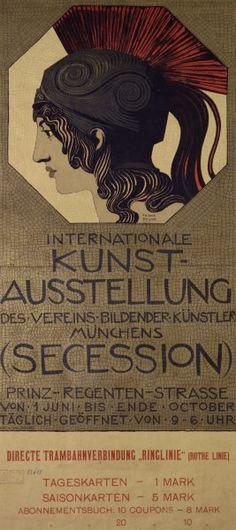 illustration allemande : Franz Von Stuck, affiche Sécession de Munich, 1893, guerrier grec