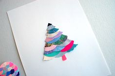 tree card using old wrapping paper