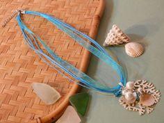 18 Multistrand Necklace Blue Organza Ribbon Sea Fan Hemp by 2lewa