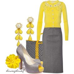 """""""Lemon"""" - don't like the embellishments on the sweater but the overall look is nice for work.."""