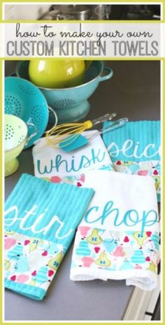 DIY Sewing Projects for the Kitchen - Custom Kitchen Towels - Easy Sewing Tutorials and Patterns for Towels, napkinds, aprons and cool Christmas gifts for friends and family - Rustic, Modern and Creative Home Decor Ideas http://diyjoy.com/diy-sewing-projects-kitchen