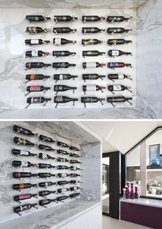 Organize your wine on these custom made wine walls that use pegboard principles to keep the bottles in place.