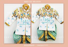 Bird on branch : Boy ethnic wear in hand embroidery work . whatsapp 7893037777 for orders Baby Boy Suit, Baby Boy Dress, Baby Boy Outfits, Baby Boys, Male Outfits, Baby Boy Ethnic Wear, Kids Ethnic Wear, Baby Boy Fashion, Kids Fashion