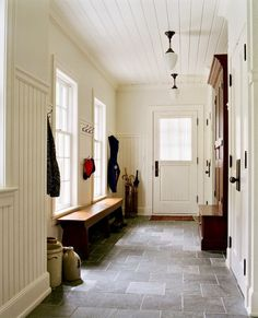 Jenny Steffens Hobick: HomeSuch a warm back hallway/mudroom. Plenty of room for a gaggle of kids to storm through the door.