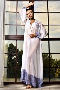 Lace Bridal Robe, Wedding Lingerie, White Chiffon, White Maxi, Bride Dressing Gown, Little Girl Models, White Kimono, Wedding Kimono, Puffed Sleeves