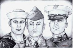 In Memory of ( CENTER ) Fallen Hero Portrait of PFC Jeremy Drexler United States Army  K.I.A. 5/2/04 Pictured Along with his Two Brothers who are still actively serving in the Navy & Marines---Portraits of the Fallen Drawn Free of Charge By Clayton Murwin of Heroes Fallen Studios Inc. http://www.heroesfallenstudisinc.org