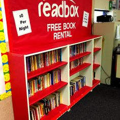 This is an awesome way to market books in a relevant way to a students. It also highlights reading in a positive way. I bet students are much more likely to check out books from this bookshelf over a plain one. Maybe students could even create and advertise book trailers for reading projects to fit the theme! -Anna Teichen