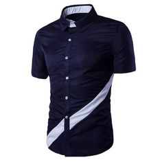 Modish Turn-Down Collar Color Block Spliced Short Sleeve Shirt For Men Cool Shirts For Men, Stylish Shirts, Stylish Men, Casual Shirts, Men Casual, Men's Shirts, African Clothing For Men, African Shirts, Indian Men Fashion