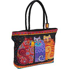 4cfe964f6354 Laurel Burch Feline Friends Multi-- This is a large tote that holds a lot.  I use it for my to-go bag for camera