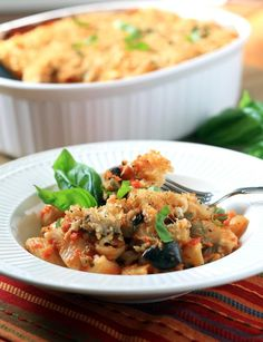 Pasta Recipe : Cheesy Baked Pasta with Roasted Red Pepper Sauce and Eggplant : Pasta Recipe
