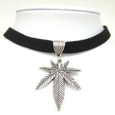 """Black Flat Faux Suede Leather Cord Pot Weed Leaf Charm 13"""" Choker Necklace Collares Gothic."""