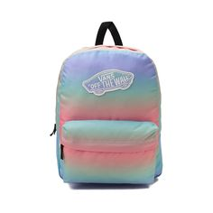 "Add the new Realm Rainbow Backpack from Vans to your scholarly style! The Realm Rainbow Backpack features a vibrant, multicolored exterior with logo patch, and plenty of compartment space for all of your essentials.   <br><br><u>Features include</u>:<br> > 100% Polyester<br> > Zipper closure<br> > Front utility pocket with zipper closure<br> > Vans ""Off the Wall"" logo patch<br> > Padded and adjustable shoulder straps<br> > Dimensions: W 12.5"" x D 4.5"" x H 16.75""<br>"