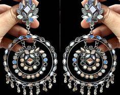 Gypsy Jewelry, Tribal Jewelry, Indian Jewelry, Unique Jewelry, Gold Hoop Earrings, Gold Hoops, Stone Earrings, Indian Accessories, Traditional Earrings