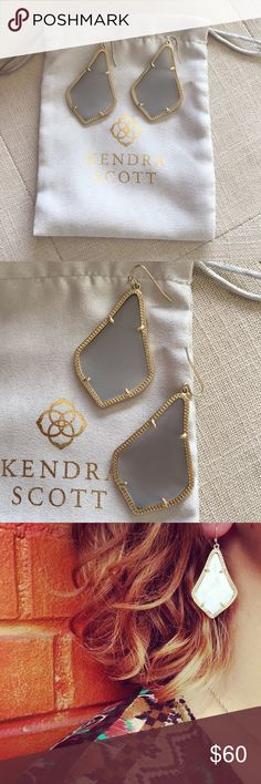"""Kendra Scott """"Alex"""" Earrings A classic silhouette in a delicate metallic frame, the Alex Earrings are a timeless accessory fit for any occasion. Worn once, like new.  • 14K Gold Plated Over Brass • Size: 1.5""""L x 1""""W on earwire  From Kendra Scott website - Please note: Due to the one-of-a-kind nature of the medium, exact color patterns may vary slightly from the image shown. Kendra Scott Jewelry Earrings"""