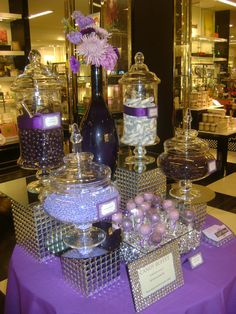 Purple Candy Buffet by OC Sugar Mama: Love the boxes and mirror to create height and dynamics Wedding Candy Buffet, Bling Candy Buffet, Dessert Tables, Candy Buffet Tables, Dessert Buffet, Dessert Bars, Cake Table, Candy Bars, Purple Table Decorations