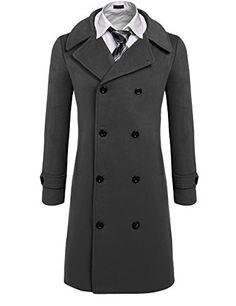 Coofandy Men's Trench Coat Winter Pea Coat Long Jacket Do...