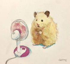 Japanese Artist Paints Adorable Watercolours Of Pet Hamster Doing Human Things Cute Animal Drawings, Cute Drawings, Cute Baby Animals, Animals And Pets, Japanese Hamster, Banana Art, Kawaii Illustration, Cute Hamsters, Dibujos Cute