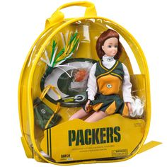 Green Bay Packers Cheerleader Doll-Red Head at the Packers Pro Shop http://www.packersproshop.com/sku/4005203029/