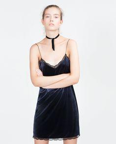 Zara Velvet Dress Velvet Dress in Blue (Midnight blue)