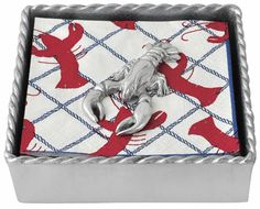 Twisted Napkin Box with Lobster Weight