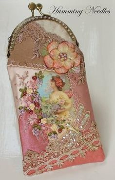 Ribbon embroidery, glasses case, Humming Needles by jane
