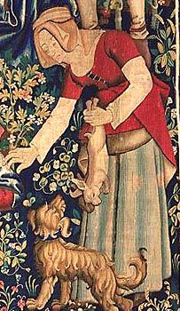 Flemish tapestry 1460-1470  (rabbit hunting with ferrets)