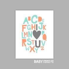 Baby girl nursery art print Alphabet, I love you 11x14 peach and mint