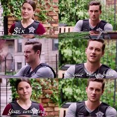Halstead: How many pillows? Lindsay: I like to sleep with two behind my head, one from knee to ankle, one pulled into my chest... Halstead: So four. Lindsay: Six... (4x04 Deleted Scene)