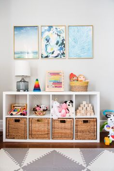 Modern Playroom Ideas from /cydconverse/ Kids playroom ideas, home decor ideas, entertaining tips, party ideas and more from /cydconverse/ Colorful Playroom, Modern Playroom, Playroom Design, Playroom Decor, Kid Playroom, Children Playroom, Kids Playroom Storage, Playroom Shelves, Ikea Kids Room