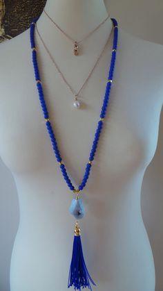 Long beaded roayl blue tassel necklace. от AllAboutEveCreations