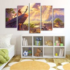 Lion King Simba Large Canvas Print,  5 Panel Canvas, Cartoon Wall Art Prints, Art Kids Room, Wall Art Canvas #089 by CharmOfCanvasArt on Etsy https://www.etsy.com/listing/449364972/lion-king-simba-large-canvas-print-5                                                                                                                                                                                 More