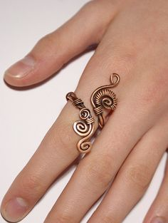 Wire wrap ring-copper ring-adjustable wire wrapped by BeyhanAkman