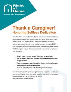 The Right at Home franchise system established its #Caregiver of the Year program to honor #seniorcare professionals' contribution to the #homecare industry. For more information and resources about senior care and #caregivingtips, visit http://www.rightathome.net/washtenaw/blog/.