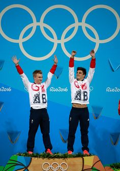 #RIO2016 Gold medalists Jack Laugher and Chris Mears of Great Britain pose on the podium during the medal ceremony for the Men's Diving Synchronised 3m...