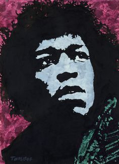 Jimi Hendrix by Martin Torsleff. Original aquarel on paper 75x57 cm. Unframed,  world wide shipped $800,- www.pop-art.dk