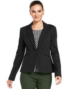 Grace Elements Jacket, Ponte-Knit Single-Button Blazer - Jackets & Blazers - Women - Macy's
