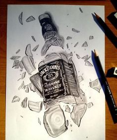 Drawing of a Broken bottle of Jack Daniels art Broken Drawings, Dark Art Drawings, Cool Art Drawings, Pencil Art Drawings, Realistic Drawings, Art Drawings Sketches, Beautiful Pencil Sketches, Broken Bottle, Bottle Drawing