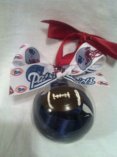 Hand painted ornament, pats ornament, Football ornament