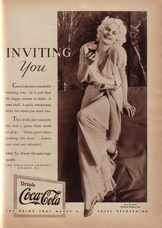 """1932: Jean Harlow """"Inviting You"""" to drink Coca-Cola."""