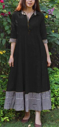 Magical Black Color Slubby Cotton Casual Wear Long Flair Print Gown IK Mango slice Black Color: Yellow Fabrics: Top :- Slubby Cotton Stitch Type: Fully-StitchedTop Length: Up to inchesFlaire :- 3 MeterSize: XL XXL( Pakistani Fashion Casual, Pakistani Dresses Casual, Casual Dresses, Fashion Dresses, Diy Fashion, Simple Kurta Designs, Kurta Designs Women, Stylish Dresses For Girls, Summer Dresses For Women