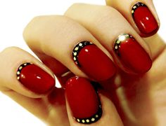Red And Gold Nail Designs