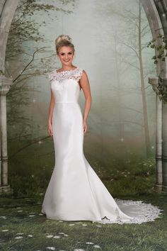 9bac2bc0bd2 Gorgeous Mikado fitted gown with a stunning lace neckline and back