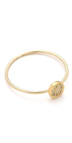 Jennifer Meyer Jewelry 18k Gold Circle Diamond Ring..adorable right hand ring