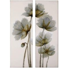 "Uttermost Set of 2 Floral Glow 60"" Wide Wall Art (2,920 CNY) ❤ liked on Polyvore featuring home, home decor, wall art, art, backgrounds, flowers, quadros, flower stem, floral home decor and flower home decor"